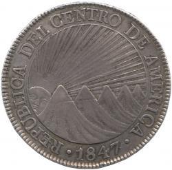 中央アメリカ 8レアル銀貨 1847(NG.A.)  山脈と太陽/オークツリー トーン・極美品