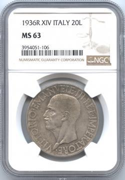 イタリア王国 20リレ銀貨 1936(R) ヴィットリオ・エマヌエル3世(1900-1946) クァドリガ NGC-MS63 未使用品