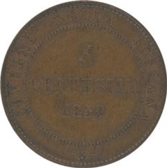 Italy Toscana 2nd Provisional govt 5Centesimi 1859