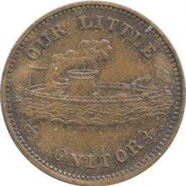 U.S.A Civil War Token 1Cent 1863 Monitor Ship