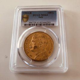 イタリア 100リラ金貨 麦を刈る女神 1912-R PCGS(MS63)